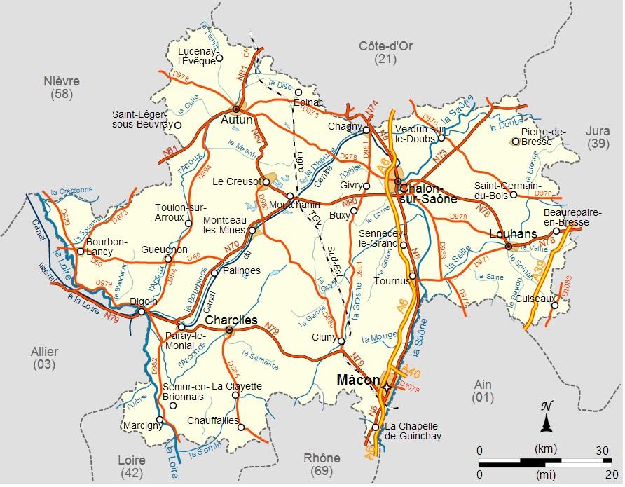 Découvrez la carte de la Saône et Loire